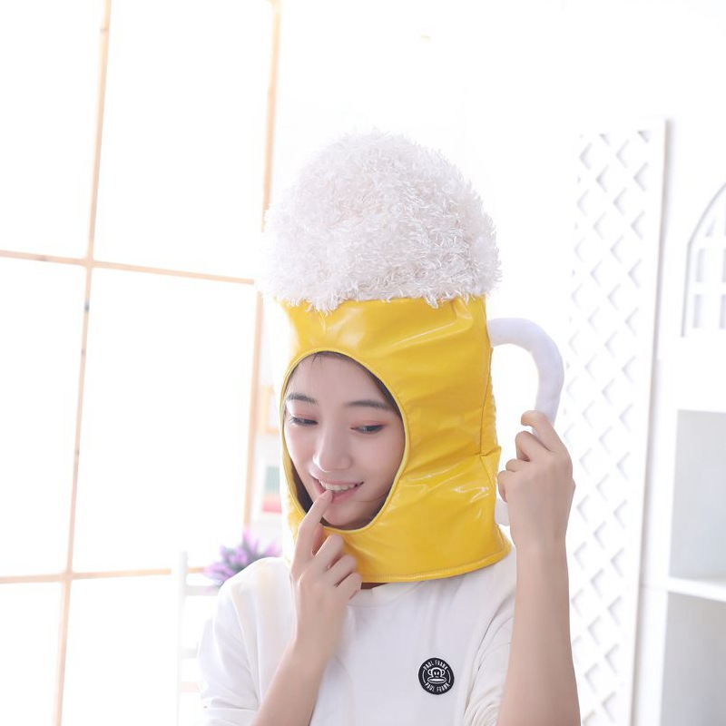 45x35cm Yellow White Beer Glass Plush Hat Cosply Toy Kids Cartoon Hat For Student Stuffed Doll Hat Adult Funny Toy