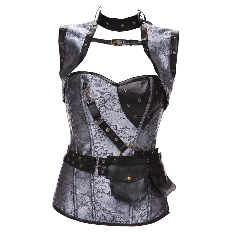 New Faux Leather Punk Corset Steel Boned Gothic Clothing Waist Trainer Basque Steampunk Corselet Cosplay Party Outfits S-6XL