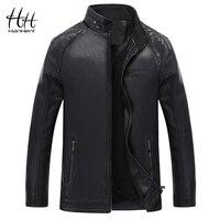 HanHent Quilted Leather Jackets Men 2018 Fashion Streetwear Plus Velvet Men's PU Jackets Coats Slim Casual Faux Leather Men