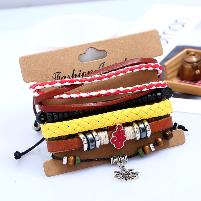 Naruto Handmade Leather Braid Hemp Bracelet