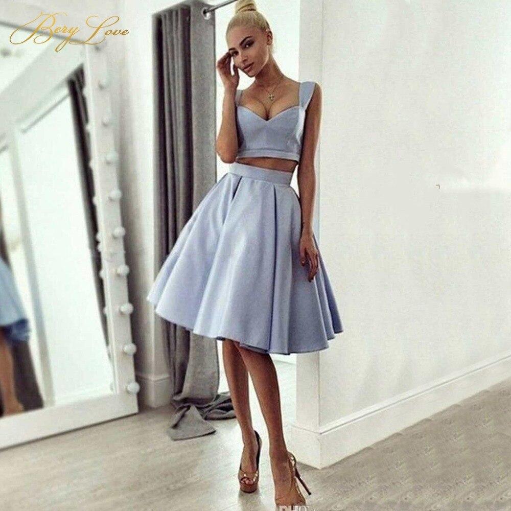 26caed04d5 Śliczne kolan srebrny szary Satin Homecoming sukienka 2019 dwa kawałki krótkie  sukienka na studniówkę prawdziwe zdjęcia