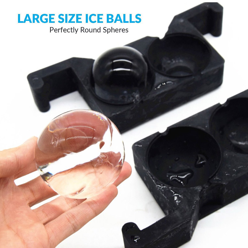 2 In 1 Silicone Crystal Clear Round Ice Ball Maker Mold Tray Kitchen Bar Tools