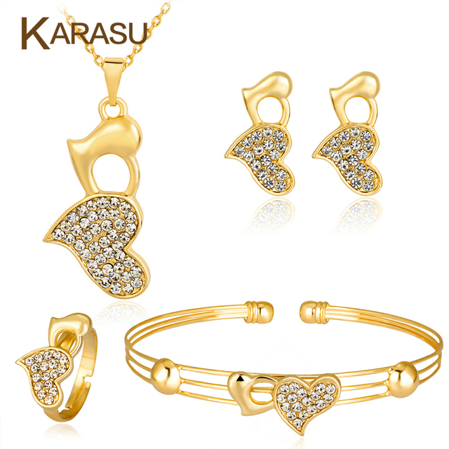 d211ad6d0213 Karasu doble Hearts pretty Colgantes collar Pendientes pulsera anillo  nupcial mujeres Niñas moda infantil Juegos de