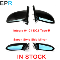Car Parts Integra DC2 1994 2001 Type R Spoon Style Carbon Fiber Side Mirror For Honda Glossy Fibre Exterior Body Kit Accessories