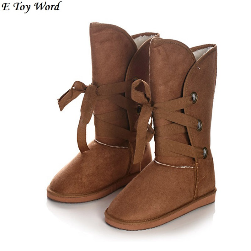 Fashion women lace up winter high snow boots real sheepskin leather nature fur lined winter flats shoes bowknot black brown inoe 2018 new genuine sheepskin leather sheep fur lined short ankle suede women winter snow boots for woman lace up winter shoes