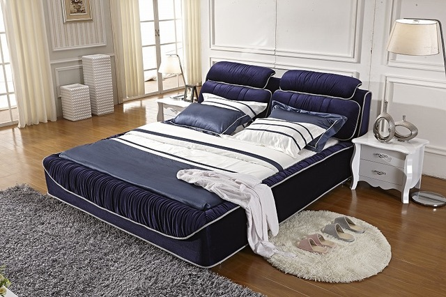 lilac ruffle velvet modern fabric soft sleeping bed contemporary bedroom furniture China