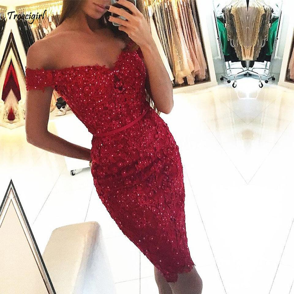 27-1              Short Prom Dresses 2019 New Design Off The Shoulder Lace Appliques Beads Sash Cocktail Party Dresses Mermaid Evening Gowns DP0269