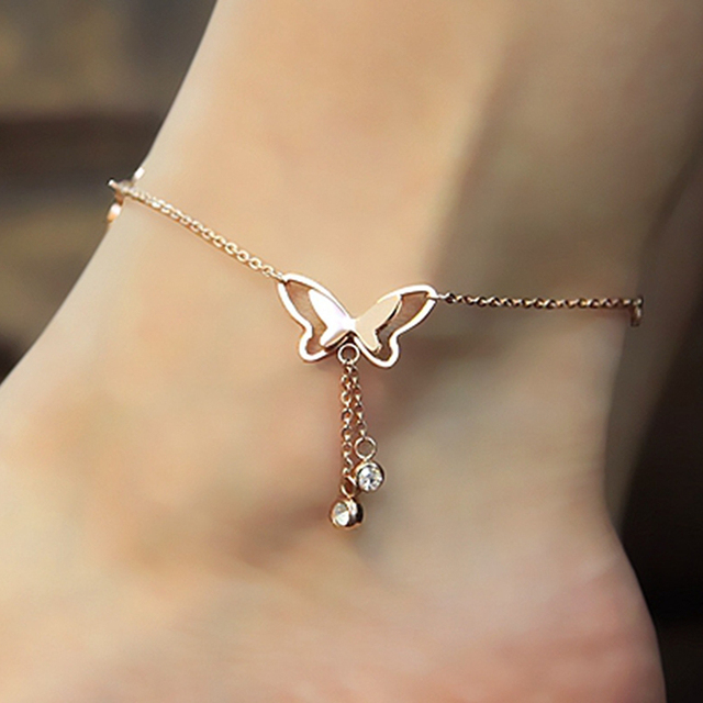 Beautiful Butterfly Anklet Rose Gold Titanium Steel Chain Bracelet Women Girl Lover Barefoot Fashion Foot Chain Jewelry