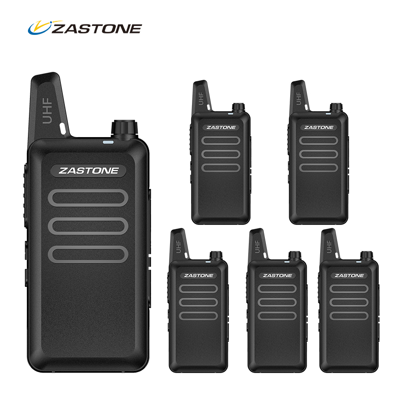 6pc Professional Walkie Talkie Zastone X6 UHF Long Range Two Way Radio Handheld Mobile Ham CB Security Radio Communicator