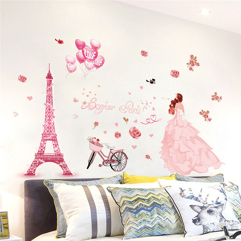 Aliexpress Com Buy Eiffel Tower Wedding Girl Wall Stickers Living Room Girls Bedroom Couple House Interior Home Decoration Art Decals 2018 Hot Sale