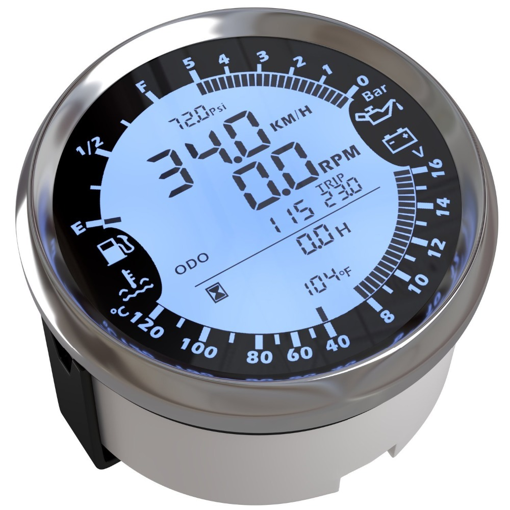Universal 6 in 1 Multi functional Gauge Meter GPS Speedometer Tachometer Hour Water Temp Fuel Level