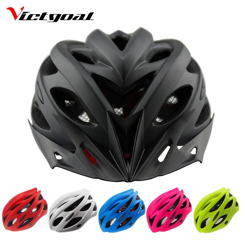 VICTGOAL Caschi Da Bicicletta Matte Black Uomini Bike Helmet Donne Luce Posteriore Mountain Bike Su Strada Integralmente Modellato Caschi Da Ciclismo