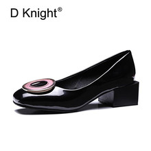Plus Size 32-48 Women Pumps Square Toe Black White Block Heels Office Lady Pumps Patent leather Thick with Female Single Shoes fashion women s pumps with pu leather and color block design