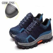 Для мужчин анти-пропустить Обувь шнурованная Ботинки рабочая обувь Обувь Сталь носком Кепки анти-разбив проколов Прочный Зимний защитная обувь