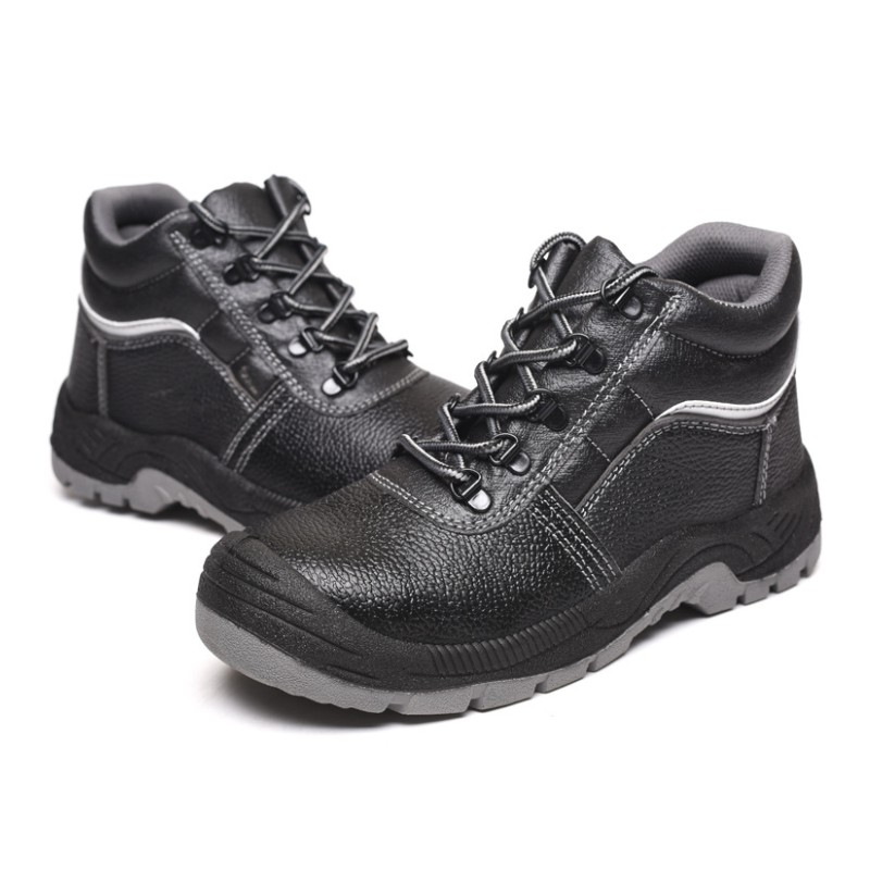 HALINFER Men Steel Toe Safety Work Shoes microfiber Breathable stab-proof fashion black