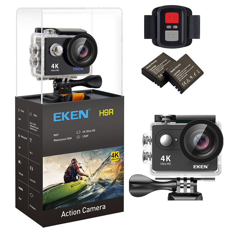 Original EKEN H9 / H9R Ultra 4K HD Wifi Action Camera waterproof 170D 1080p 60FPS underwater go underwater extreme pro sport cam battery dual charger bag action camera eken h9 h9r 4k ultra hd sports cam 1080p 60fps 4 k 170d pro waterproof go remote camera