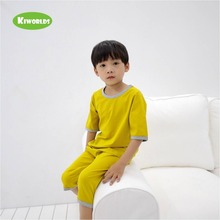 Купить с кэшбэком 2019 Summer boy and girl two pieces  cotton model pink and green Suit, super comfortable cool soft pajamas home clothes
