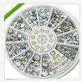 Caliente la venta 5 tamaños Multicolor blanco acrílico Nails Accessoires 3D Nail Art Decoration Crystal Glitter Rhinestones del clavo del diseño