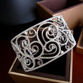 YoGe B0373   Luxury AAA cubic zirconia  micro pave setting lace hollow out  bangle cuff novel bling bling sparkling