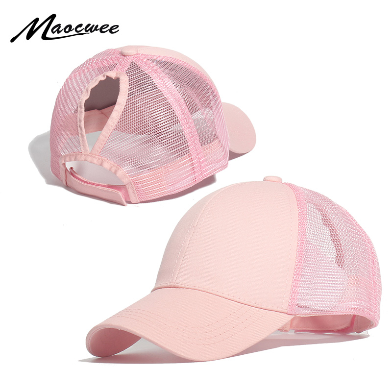 MAOCWEE Ponytail Baseball Cap Women Adjustable Messy Bun Caps Black Pink Hat Girls Casual Cotton Snapback Summer Mesh Hats