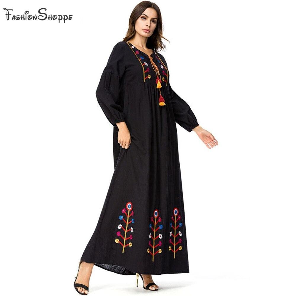 2c7ab75b9d Black Embroidery Tassel Long Sleeve Dresses 4XL Plus Size Autumn Women Round  Neck Casual A Line Maxi Dress Muslim Abaya Gowns