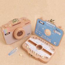 Детская деревянная коробка для зубов, Детская коробка для зуба, коробка для хранения зуба в форме камеры, деревянный контейнер для хранения зубов, детский подарок, tandendoosje caja dient