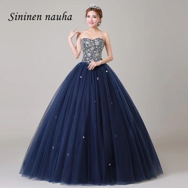df58ee682f2 Navy Blue Quinceanera Dresses Prom Party Dress Sweetheart Crystals Dance Ball  Gown Vestidos De 15 Anos Sweet 16 Dresses 214