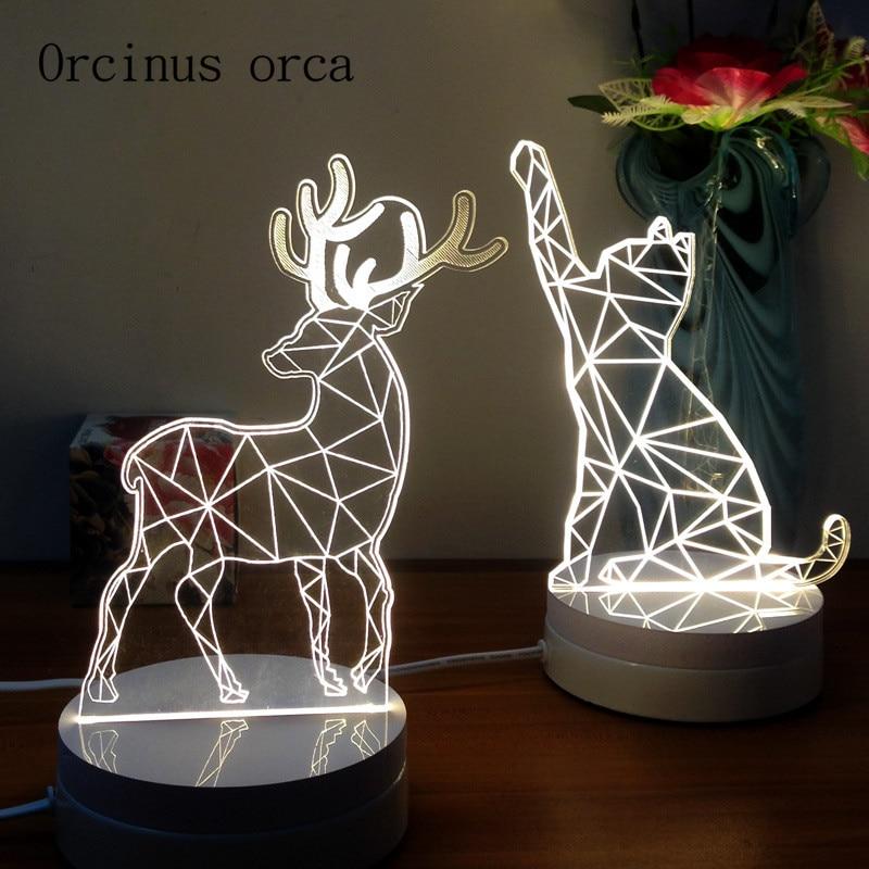 где купить Send friends bestie creative novelty gift 3D Nightlight cartoon cat deer lamp bedside lamp по лучшей цене