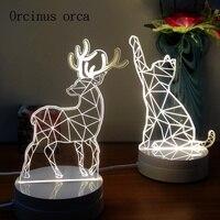 Send friends bestie creative novelty gift 3D Nightlight cartoon cat deer lamp bedside lamp