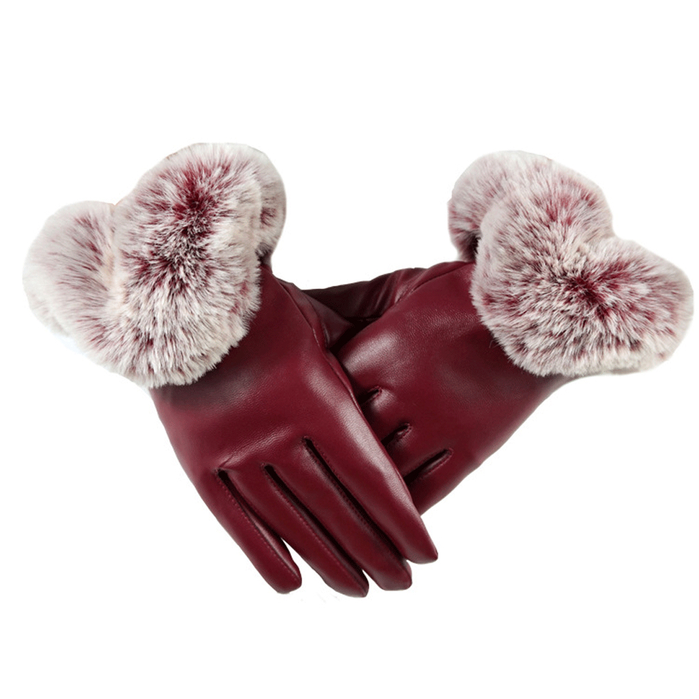Womens colored leather gloves - Women Winter Gloves Solid Color Faux Leather Gloves Autumn Warm Rabbit Fur Mittens Gants Femme Luvas