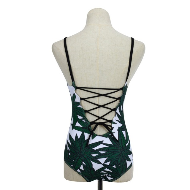 White Swimsuit with Palm Tree Leaves Pattern