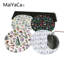 MaiYaCa Round Mouse Pad Cute Cacti in Pots Cactus and Mushrooms Customize Your Own Image Good Quality Anti-Skid Table Mats