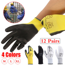 Safurance 12Pairs PU Nitrile Coated Safety Work Gloves Garden Builders Grip Size M/L/XL Hand Protection