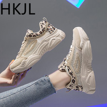 HKJL Fashion Mesh sports dad shoes women 2019 summer new leopard print breathable sneakers A535