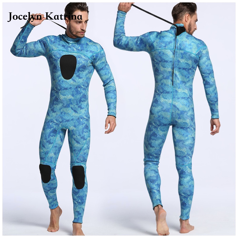 Men Plus Size Diving Wetsuit Keep Warm 3mm Neoprene one Pieces Full Suit Blind Stitching Jumpsuit Surfing Suit Camouflage blue