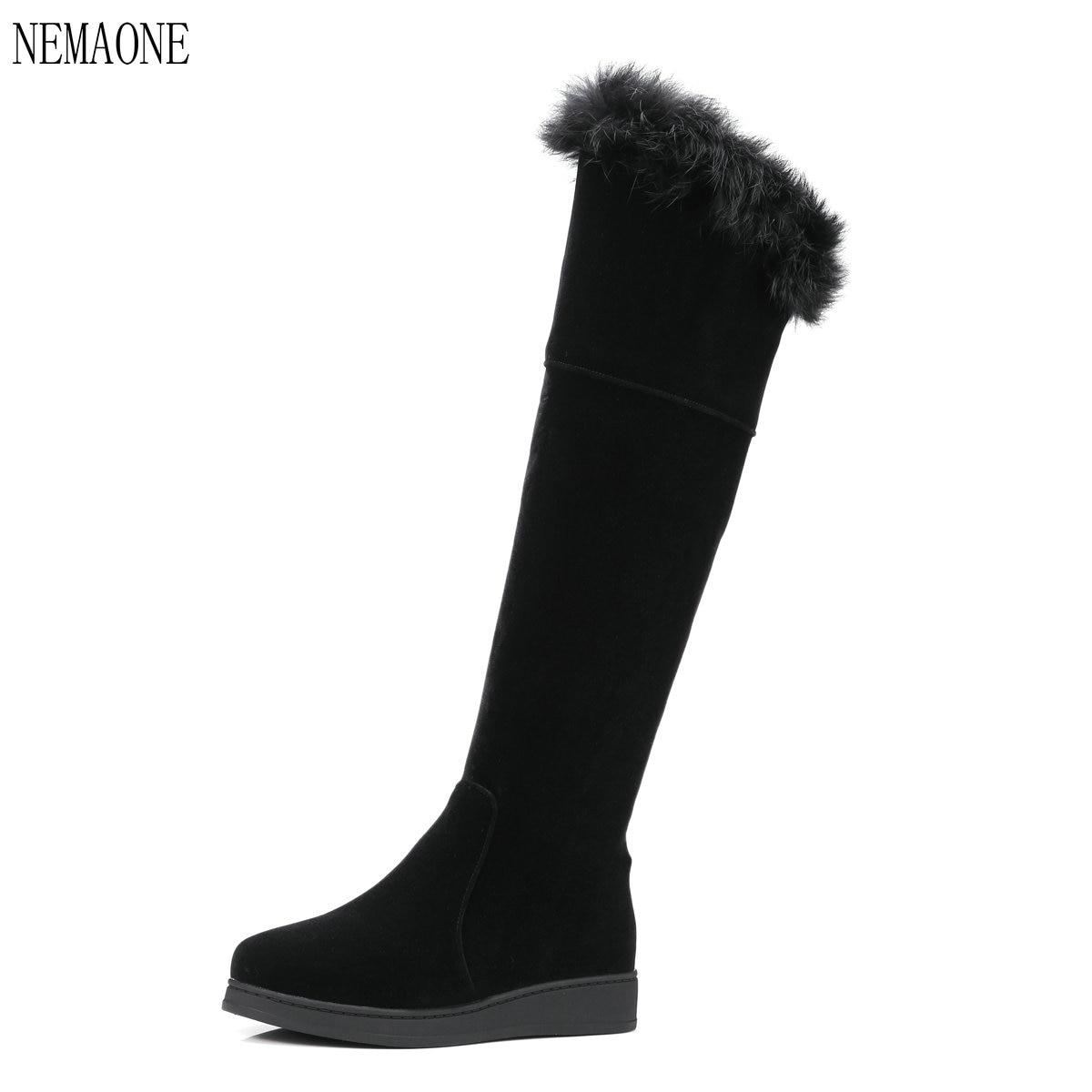 NEMAONE Hiver Femmes sur les Bottes au genou Femelle Étanche Dames Bottes De Neige Filles Chaussures D'hiver Femme En Peluche Semelle Botas Mujer