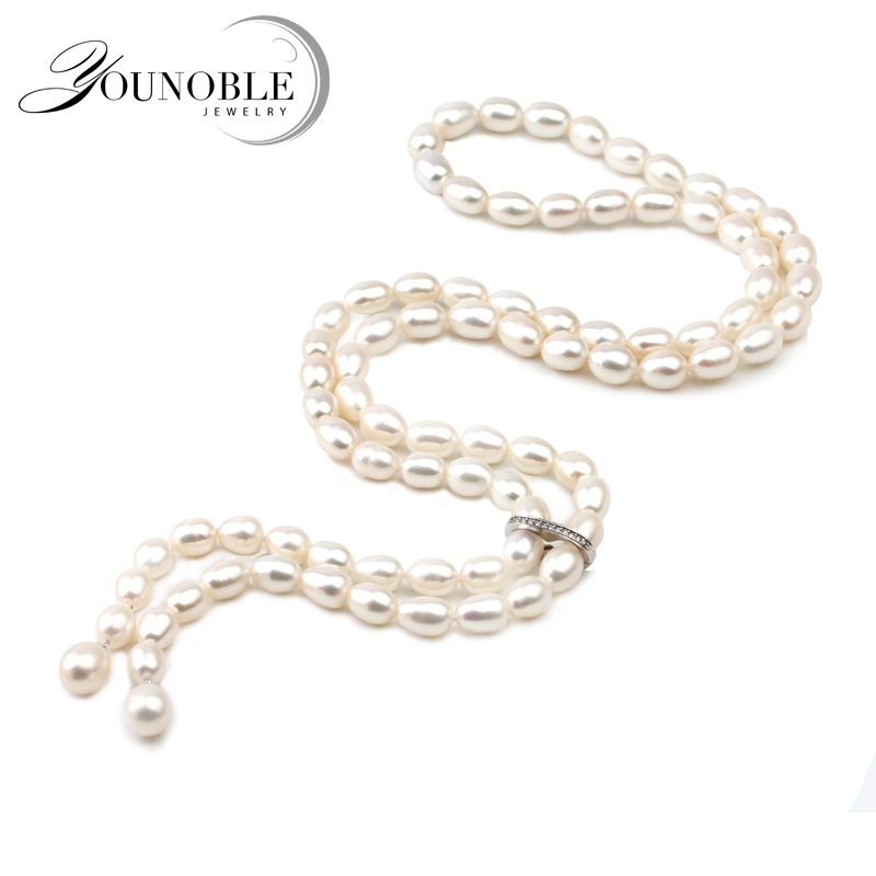100cm Long Pearl Pendant Necklace For Women real Natural Freshwater Pearl Necklace Tassel