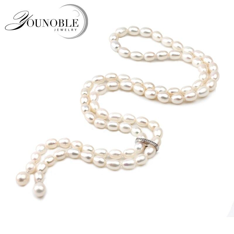 100 cm Long collier pendentif perle pour les femmes, véritable collier de perles d'eau douce naturelle gland-in Colliers from Bijoux et Accessoires    1