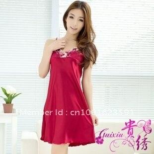 b82b90ba62 Wholesale women nightgown ladies nightwear silk robe summer sleeping wear  3pcs/lot+ Freeshipping
