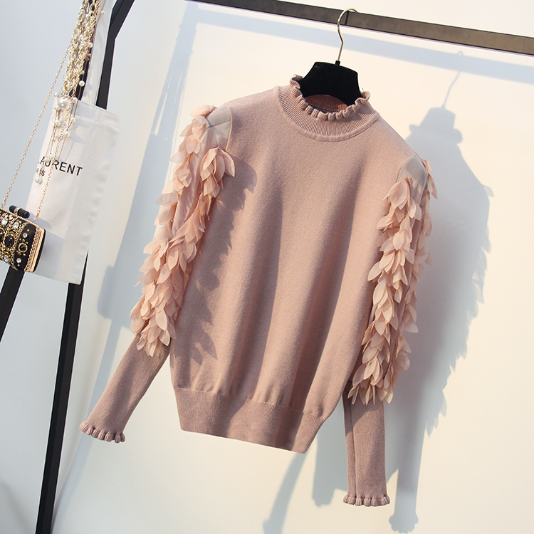 HLBCBG Ruffled Collar Knitted Women Sweater Spring Autumn Loose Jumper Fashion Flowers Sleeves Sweater and Pullover Femme Pull 11