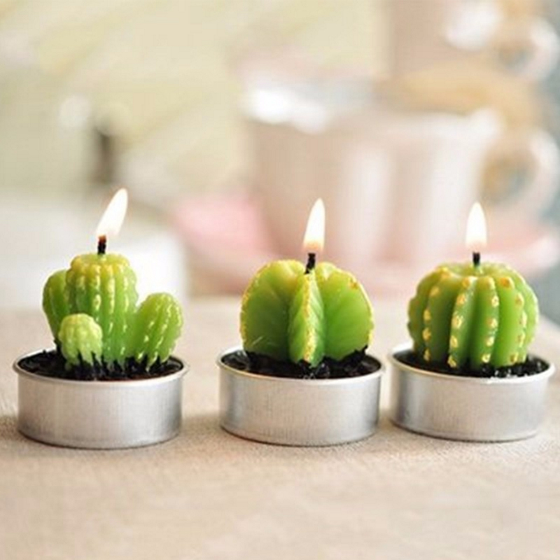 4Pcs/Box Succulent Plants Scented Candle Night Light Wedding Room Decoration