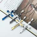 Men's Cool  3 Layer Cross Stainless Steel Cross Pendant Free Chain Necklace Accessories Cross Necklace