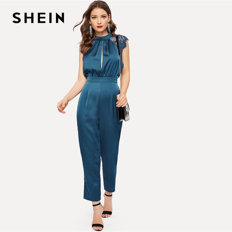 SHEIN Blue Lace Insert Slit Pleated Mock-neck Satin   Jumpsuit   2019 Women High Waist Long Trouser Cap Sleeve Spring   Jumpsuits