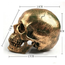 P-Flame Bronze Human Skull Resin Crafts Life Size 1:1 Model Modern Home Decor Imitation Metal Decorative Skull human skull model 1 1 skull model resin skull model art skull model