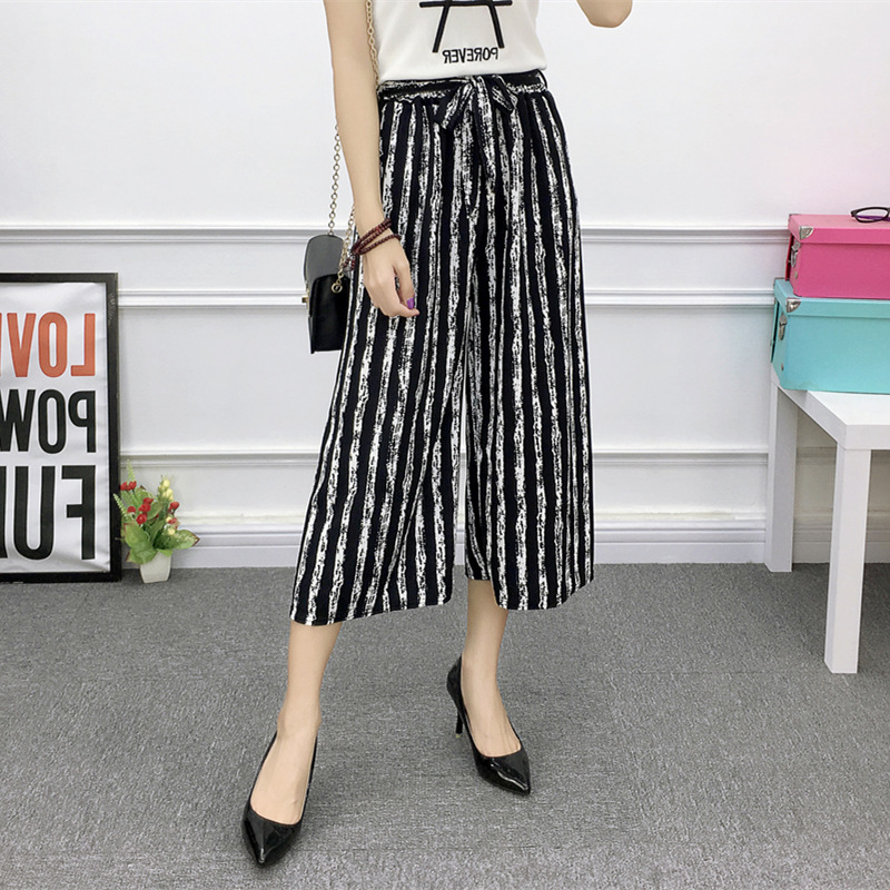 Spring Summer 2018 Women   Pants   Bow Tie Black Striped Leisure   Wide     Leg     Pants   Fashion Sweet Striped Calf Length   Pants   Belt Thin