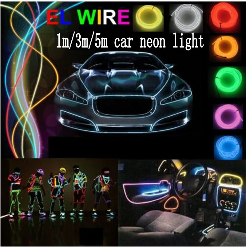 1m/3m/5m 12V Flexible Led EL Wire Glow Rope Tube Cable + Car Inverter Cigarette Lighter Plug Decoration Lights