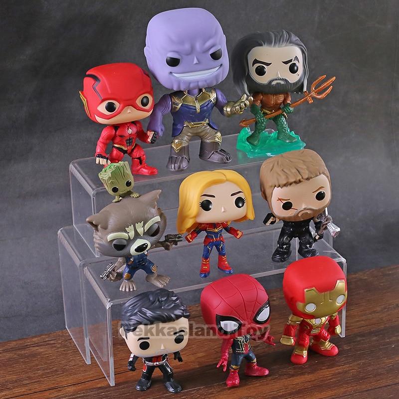 Aquaman Thanos Flash Thor Ant Man Rocket Spiderman Iron Man Captain Marvel DC  Super Heroes Action Figures Toys 9pcs/set