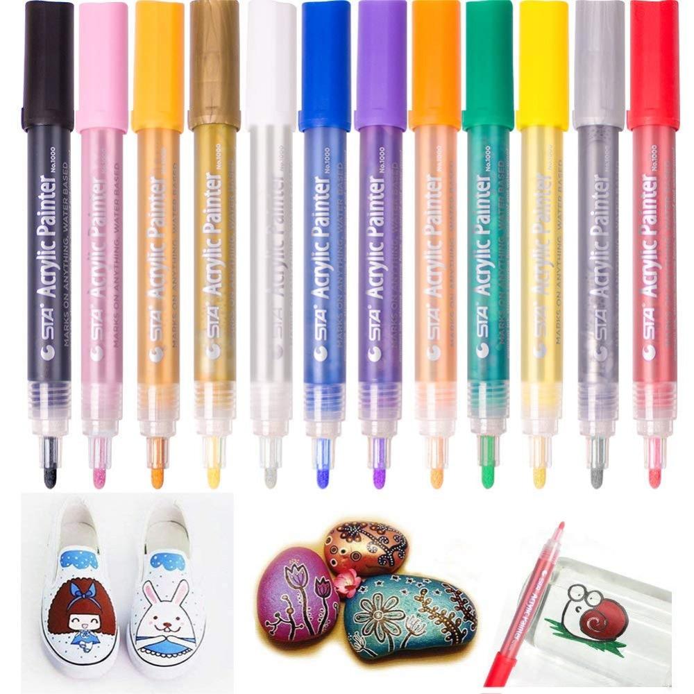 Acrylic Paint Markers Medium Tip Acrylic Pens Highlighter Permanent DIY Paint Bright Assorted Colours for Art Designs 12 Colour angelus acrylic leather paint 4oz cognac