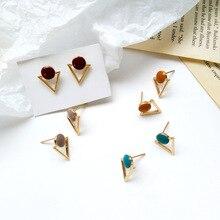 Fashion  jewelry Korean creative fashion female earring retro simple geometric triangle enamel stud earrings women