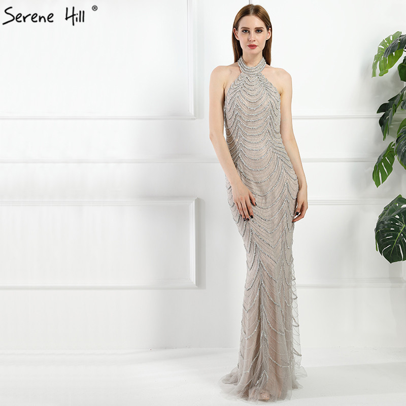 4405588c2db Halter Backless Sexy Diamond Mermaid Evening Dresses Long Elegant Evening  Gowns 2019 Real Photo LA6101
